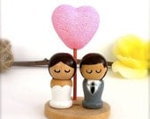 Wedding Cake Topper Kokeshi Bride and Groom with Love Heart Wooden Stand and Pink Glitter Heart Semi Custom Wooden Peg Doll Cute Decor