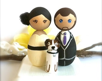 WEDDING CAKE TOPPER with Pet Kokeshi Doll Cake Topper Kokeshi Topper Japanese Doll Anime Custom Wedding Cake Topper Cute Wedding Toppers