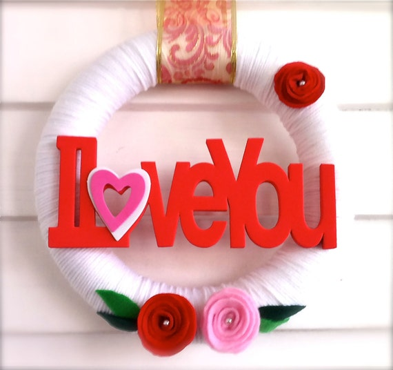 "Yarn Wreath Valentines Day Wedding Day ""I Love You"" Romantic Felt Roses Flowers Bedroom Wall Art Front Door Decoration Engagement Bride Cute"
