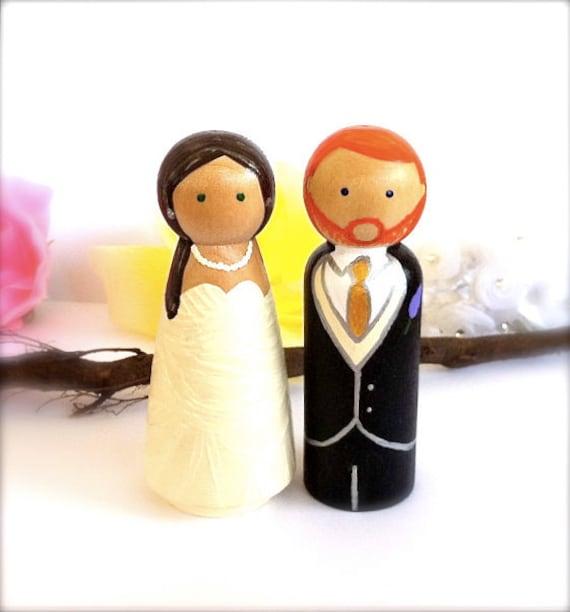 "Fully Custom Wedding Cake Toppers Large Size Wood Peg Dolls Bride Groom  3.5"" Peggies Peg People Decor  Keepsake Hand Painted Cute"