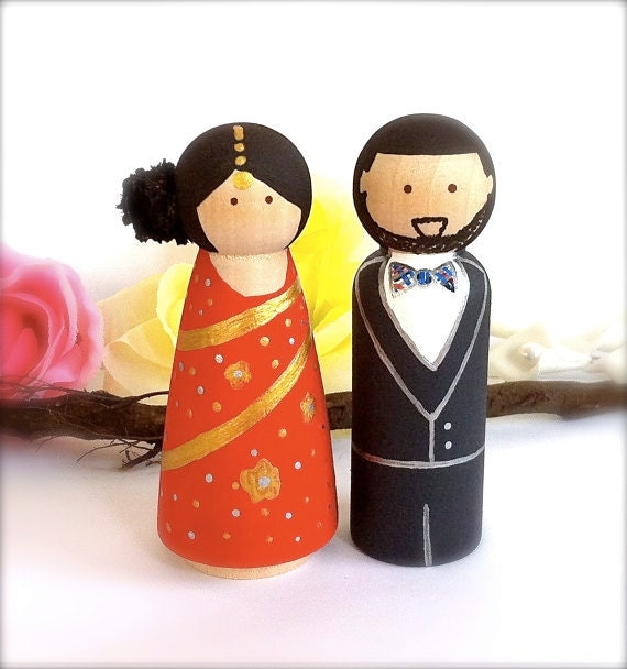 Indian Peg Doll Wedding Cake Topper
