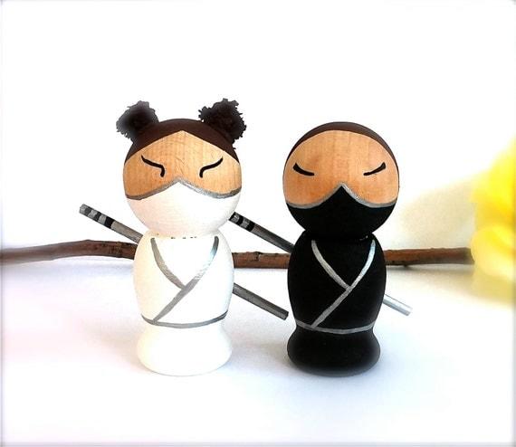 NINJA Wedding Cake Toppers 3D Ninja Cake Toppers Kokeshi Doll Personalized Semi Custom Wooden Wedding Cake Toppers Japanese Kokeshi Dolls