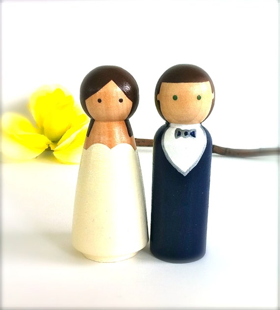 wedding cake toppers wooden dolls items similar to semi custom wedding cake topper peg 26642