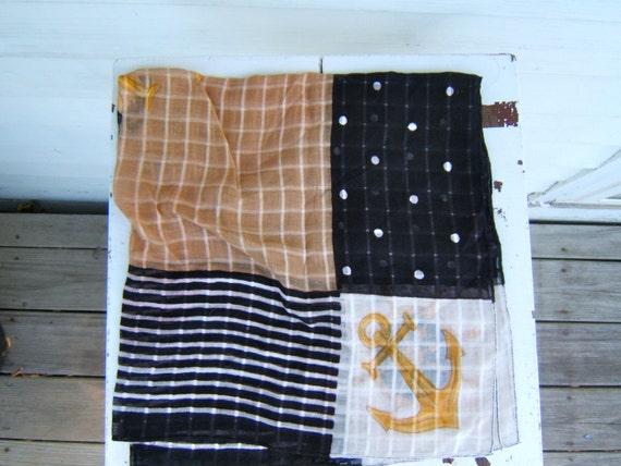 vintage nautical pocket square handkerchief