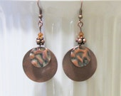 Earrings -- A Penny for your Thoughts -- ( copper disks, swarovski crystal, textured copper )