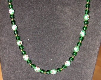 Necklace -- Cloissone in Green