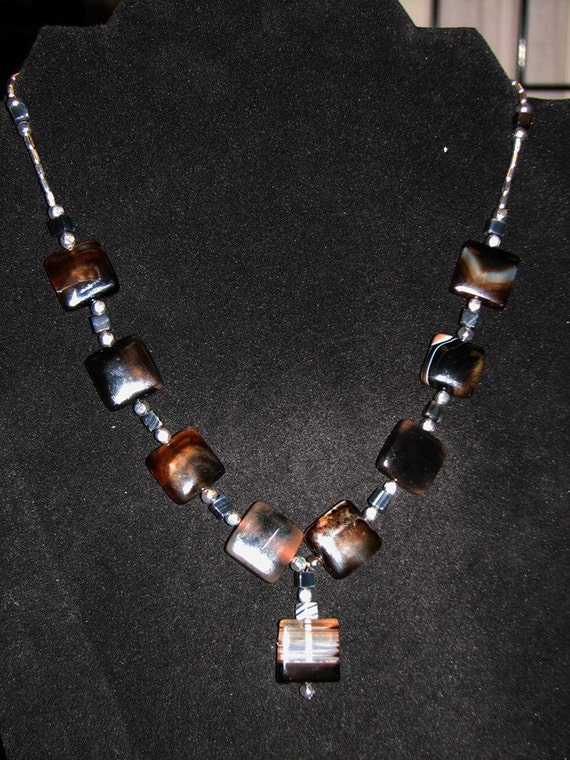 Necklace -- Banded Onyx and Silver