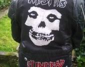 Hand Painted Studded Misfits Jacket - The Undead - Mourning Noise - Black Flag - Horror Punk - Hardcore