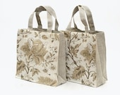"""SALE - Linen Bag with Flowers. Size: 7""""x4"""", high 8""""."""