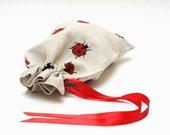 """Gift bag  - ladybird. Size: 5"""" x  7"""""""