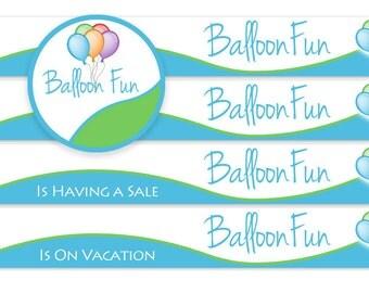 Shop Banner Set, Pre-made logo, Logo Design, balloons logo, fun logo, premade logo