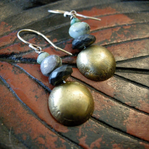 Brass Earrings with Emerald, Opal and Labradorite beads. 00034
