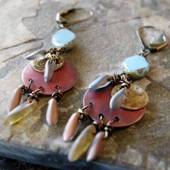 Copper, brass and czech glass earrings.