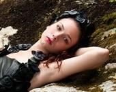 Death of Ophelia Leather Rose Headband