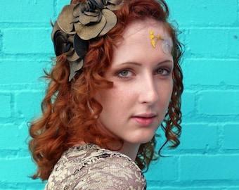 Golden Leather Rose Headband