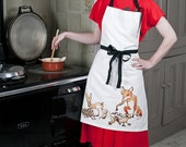 Beautiful apron featuring a fox, hare, hedgehog and squirrel.