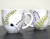 Hand Painted Mugs- Modern Leaf Design
