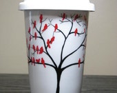 Travel Coffee Mug Personalized Birds of a Feather Ceramic Cup with Lid