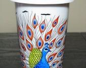 Coffee Mug Ceramic Peacock Hand Painted Cup with Lid