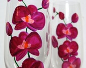 Crystal Champagne Flutes- Fushia Orchids