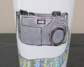 Travel Coffee Mug Hand Painted Vintage Camera, Eco-Friendly Cup with Lid