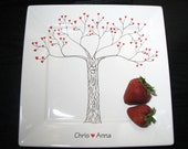 Personalized Platter Painted Plate Modern Heart Tree Eternal Love