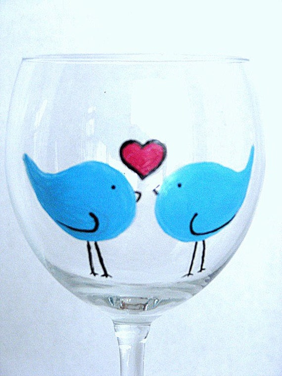 Two Hand Painted Wine Glasses- Blue Love Birds