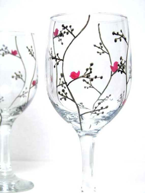 Hand Painted Wine Glasses Modern Black Leaf By Prettymydrink