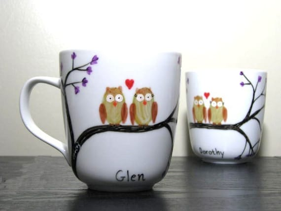 Hand Painted Mugs With Owls S Owl Mates Set Of 2 By