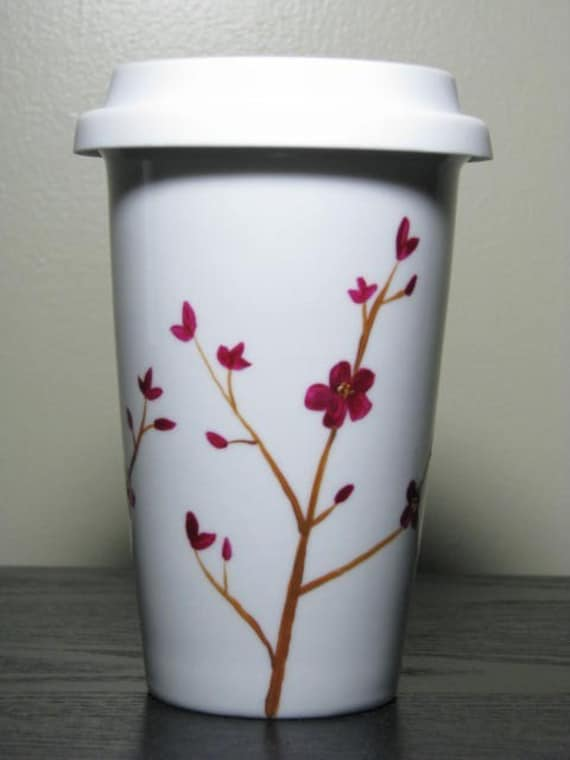 Painted Travel Mug- Elegant Orchids, Eco-Friendly