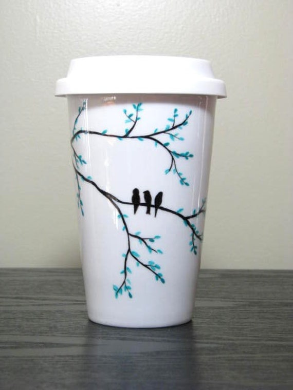 Painted Travel Mug- Three Birds Resting on Branch, Eco-Friendly