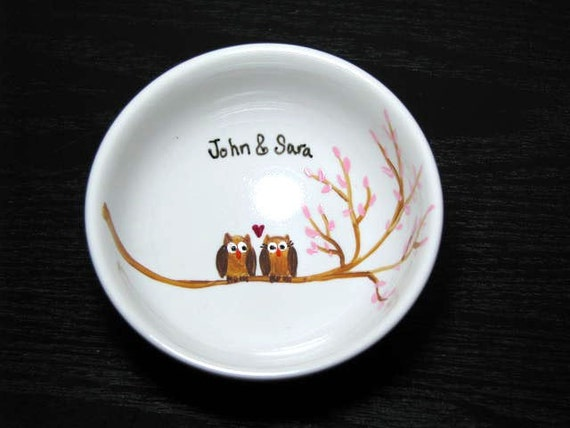 S-OWL-Mate Ring Bearer Dish, Trinket Dish