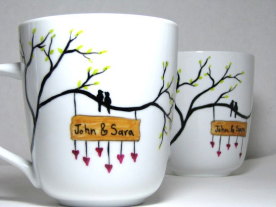 Painted Mugs- Birds Surrounded by Love, Personalized, Set of 2