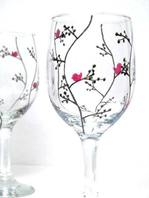 hand painted wine glasses modern black leaf design