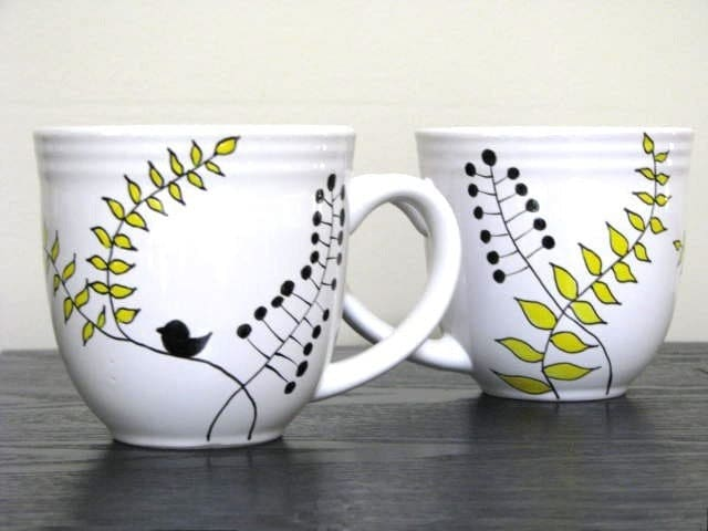 Hand Painted Mugs Modern Leaf Design