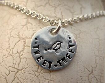 Tweet, tweet sterling silver necklace