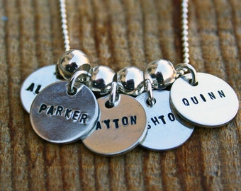 Custom sterling silver, five teeny tags necklace with spacers