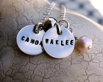 Custom necklace, two sterling silver tags