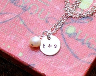 COUPLES sterling silver teeny tag sweetheart necklace Copy