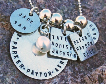 Custom Family keepsake necklace, sterling silver, 5 tags with one charm