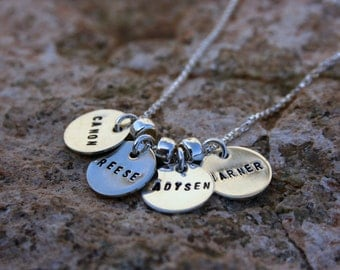 Custom sterling silver, four teeny tags necklace