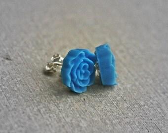 Vintage Tiny Rose Earrings -Robin egg blue
