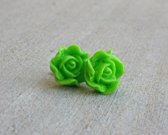 Green Sparkle Rose Earrings