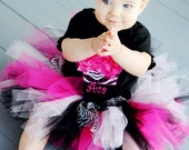 Raspberry and Candy Pink with Zebra Fluffy Cupcake Birthday Outfit with Tutu. Bloomers, and Matching Hair Clip