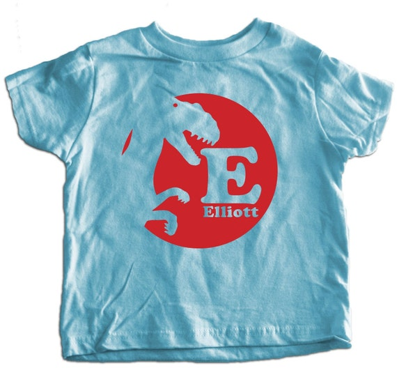 Personalized dinosaur t-shirt or a onesies with an Initial or a number and name, T-rex design