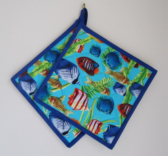 Brightly Colored Fish Potholders