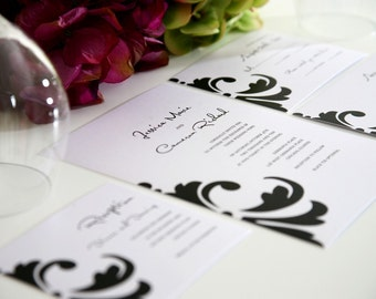 Contemporary Wedding Invitations in Black and White - Damask Accent Deposit