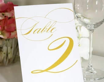 "Table Numbers Set - Any Color, 5x7"" - For Your Wedding or Party"