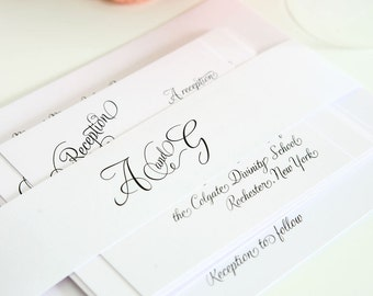Fairytale Script Wedding Invitation Suite - Beautiful, Whimsical, Woodland, White Fairytale Wedding - Invite Sample Set