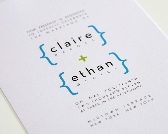 Addition of Love Modern Wedding Invitations Sample in Lime Green and Pool Blue